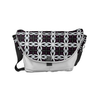 black and white geometric abstract design messenger bag