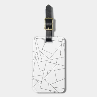 Black And White Geometric - Abstract Ink Drawing Luggage Tag