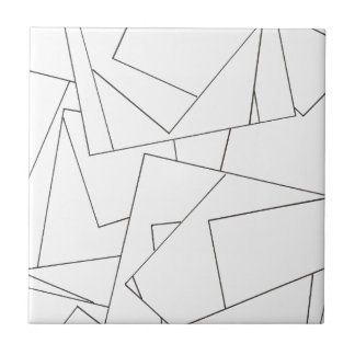 Black And White Geometric - Abstract Ink Drawing Small Square Tile