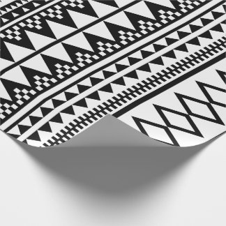 Black and White Geometric Aztec Pattern Wrapping Paper
