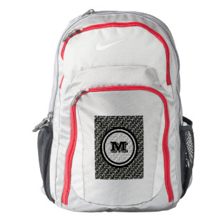 Black and White Geometric Chevron Monogram Backpack