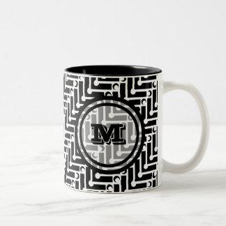 Black and White Geometric Chevron Monogram Two-Tone Coffee Mug