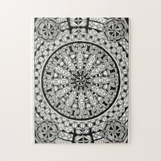 Black and White Geometric Design Jigsaw Puzzle
