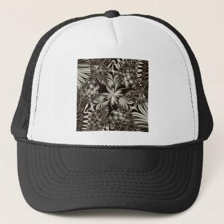 black and white geometric design trucker hat