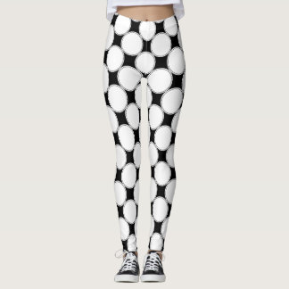 Black and White | Geometric Dots Pattern Leggings