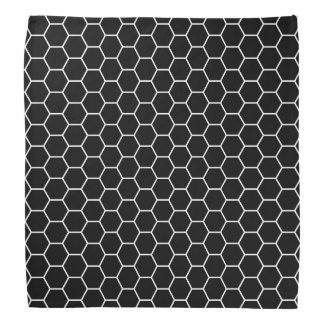 Black and White Geometric Hexagon Pattern Do-rag