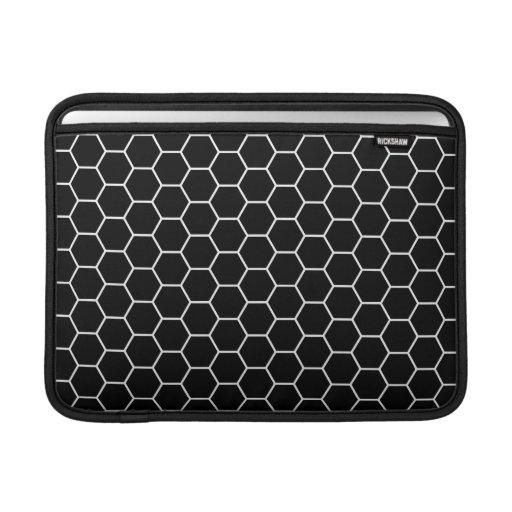 Black and White Geometric Hexagon Pattern MacBook Sleeves