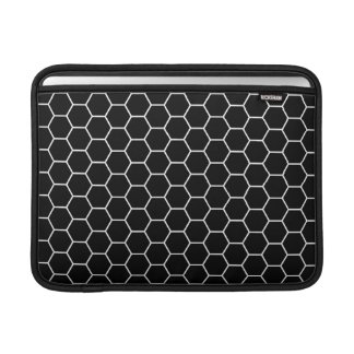 Black and White Geometric Hexagon Pattern MacBook Sleeve