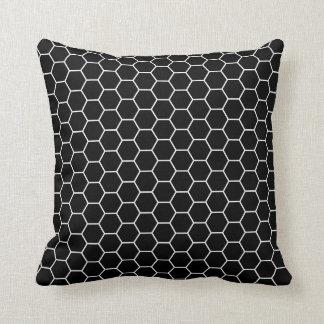 Black and White Geometric Hexagon Pattern Throw Pillow