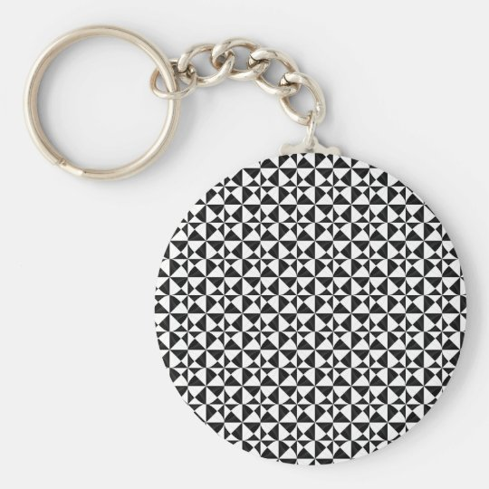 Black And White Geometric iIllusion Basic Round Button Key Ring