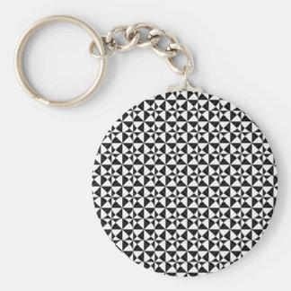 Black And White Geometric iIllusion Key Ring