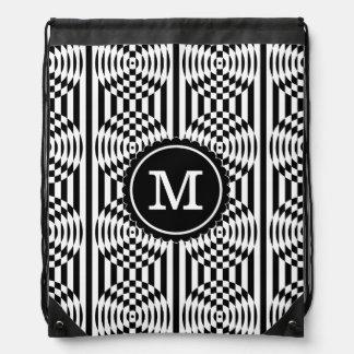 Black and White Geometric Illusion 003 Backpacks