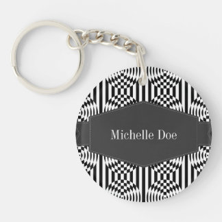 Black and White Geometric Illusion 003 Key Chain