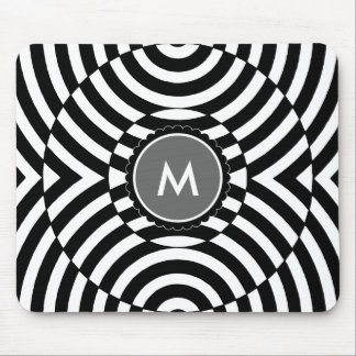 Black and White Geometric Illusion Monogram Mouse Mat