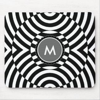 Black and White Geometric Illusion Monogram Mouse Pad