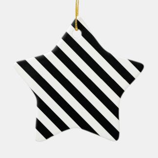 Black and White Geometric Line Pattern Ceramic Star Decoration