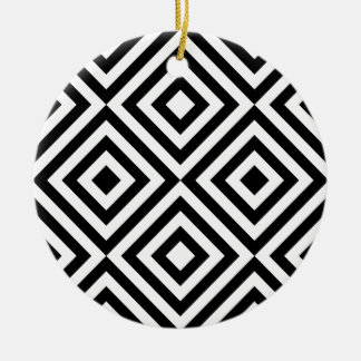 Black and White Geometric Line Pattern Christmas Ornament