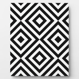 Black and White Geometric Line Pattern Plaque