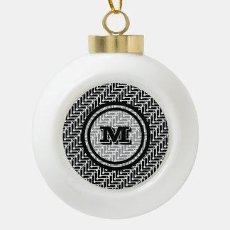 Black and White Geometric Monogram Ceramic Ball Christmas Ornament