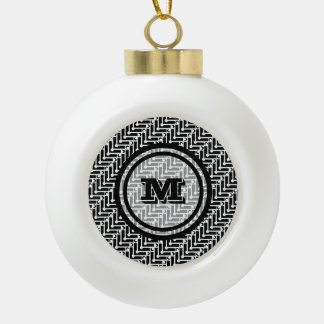 Black and White Geometric Monogram Ceramic Ball Decoration