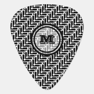 Black and White Geometric Monogram Plectrum