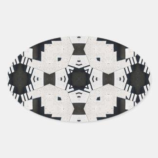 Black and White Geometric Oval Sticker