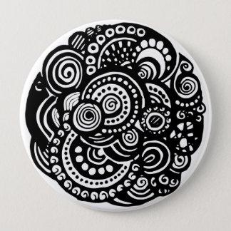 Black and White geometric pattern Button