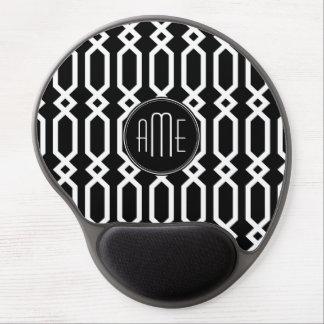 Black and White Geometric Pattern Custom Monogram Gel Mouse Pad