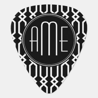 Black and White Geometric Pattern Custom Monogram Plectrum
