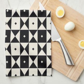 Black-and-White Geometric Pattern Dish Towel