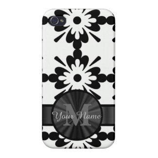 Black and white geometric personalized iPhone 4 case