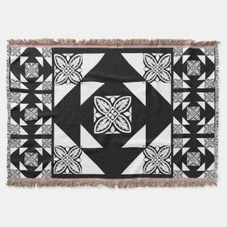 Black and White Geometric Tile Pattern Throw Blanket