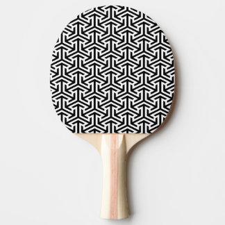 black and white geometrical modern pattern ping pong paddle