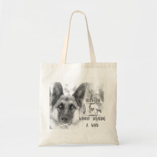Black and White German Shepherd Typography Tote