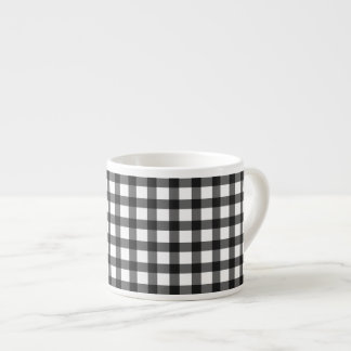 Black And White Gingham Check Pattern Espresso Cup