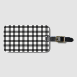 Black And White Gingham Check Pattern Luggage Tag