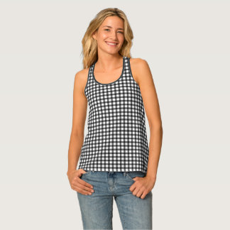 Black And White Gingham Check Pattern Tank Top
