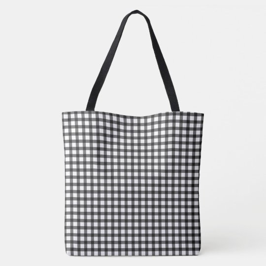 Black And White Gingham Check Pattern Tote Bag