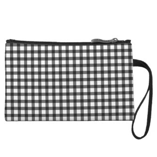 Black And White Gingham Check Pattern Wristlet