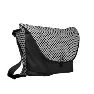 Black and White Gingham Check Plaid Pattern Courier Bags