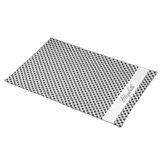 Black and White Gingham Check Plaid Pattern Place Mats