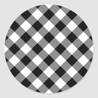Black and White Gingham Classic Round Sticker