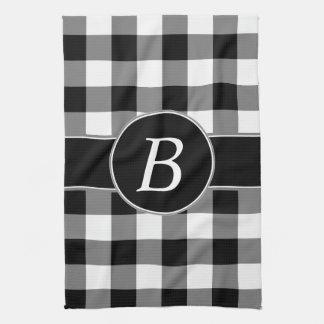 Black and White Gingham Monogram Kitchen Towel