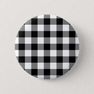 Black and White Gingham Pattern 6 Cm Round Badge