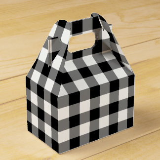 Black and White Gingham Pattern Gable Favor Box Party Favour Box