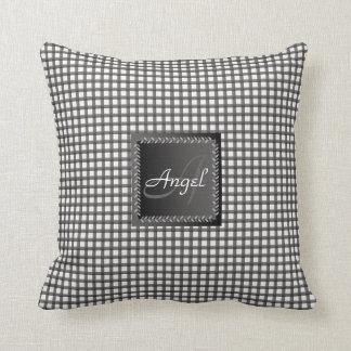 Black and White Gingham Pattern Monogram Cushion