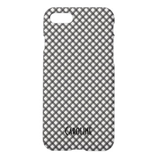 Black and White Gingham Pattern Personalized Name iPhone 8/7 Case