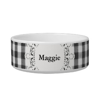 Black and white gingham pattern pet food bowl