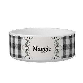 Black and white gingham pattern pet food bowl