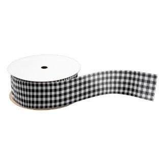 Black and White Gingham Pattern Ribbon Blank Ribbon